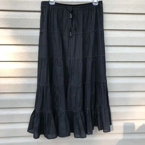 NY Collection Black Ruffle Peasant Skirt Petite M